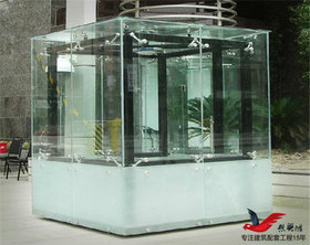 BL06异形钢结构玻璃岗亭门卫玻璃岗亭