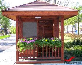 MZ08公园景区防腐木门卫岗亭钢结构收费岗亭