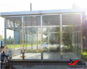 XY6移动式钢结构吸烟亭定做环保吸烟亭