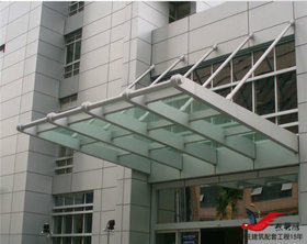 MT015大厦门头雨棚地铁出口钢构玻璃雨棚