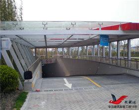 TC006小区商场停车场出入口钢构玻璃雨棚
