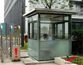 BL07钢结构玻璃门卫岗亭方形玻璃岗亭